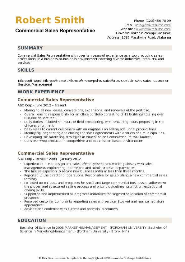 Commercial Sales Representative Resume Samples QwikResume