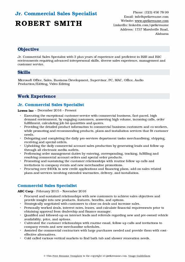 Commercial Sales Specialist Resume Samples QwikResume