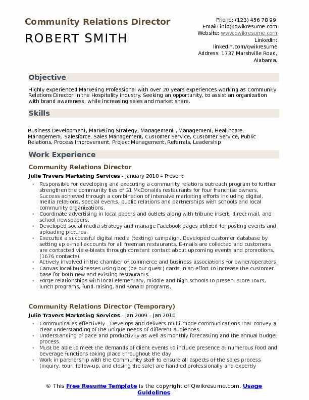 Community Relations Director Resume Samples QwikResume