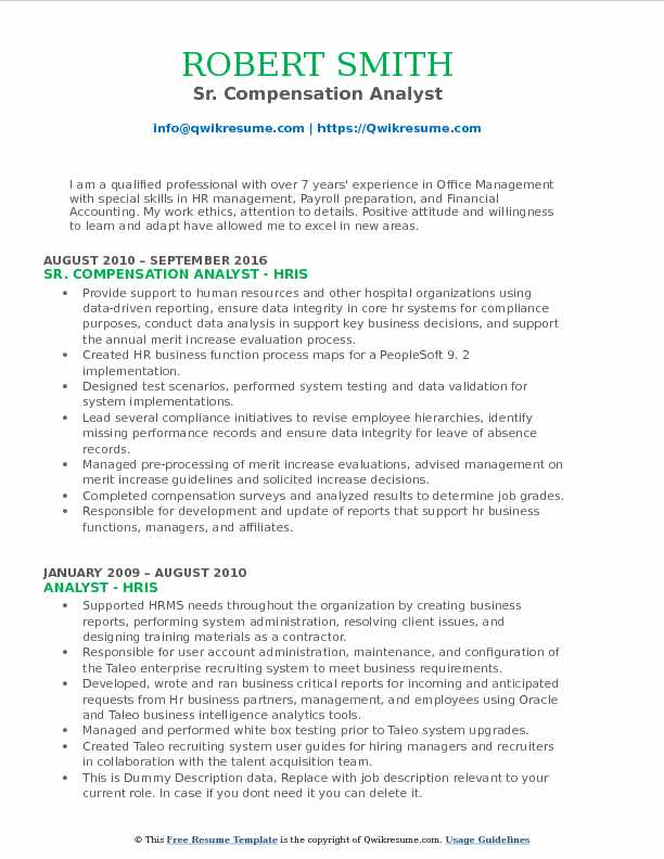 Compensation Analyst Resume Samples QwikResume - Compensation Analyst Resume