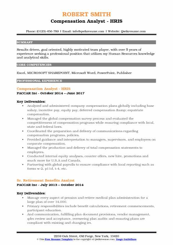 Modern Compensation And Benefits Analyst Resume Gift - Professional