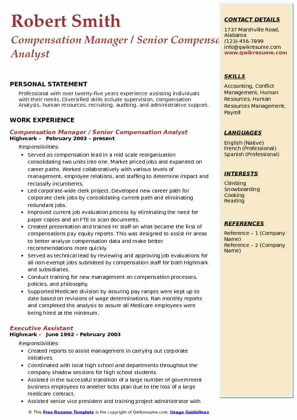 Compensation Analyst Resume Samples QwikResume - compensation manager resume