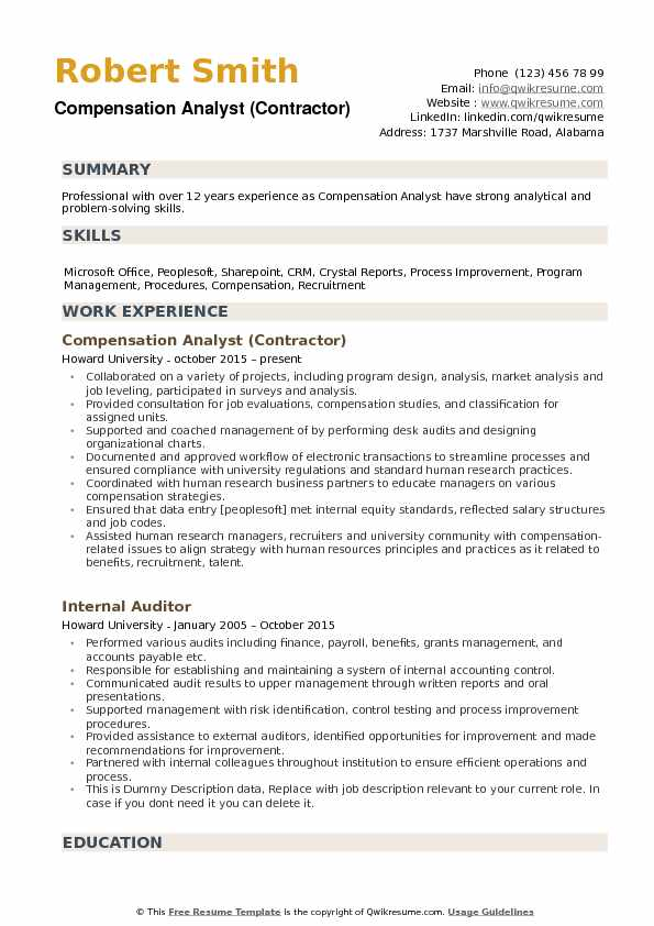 compensation resume samples