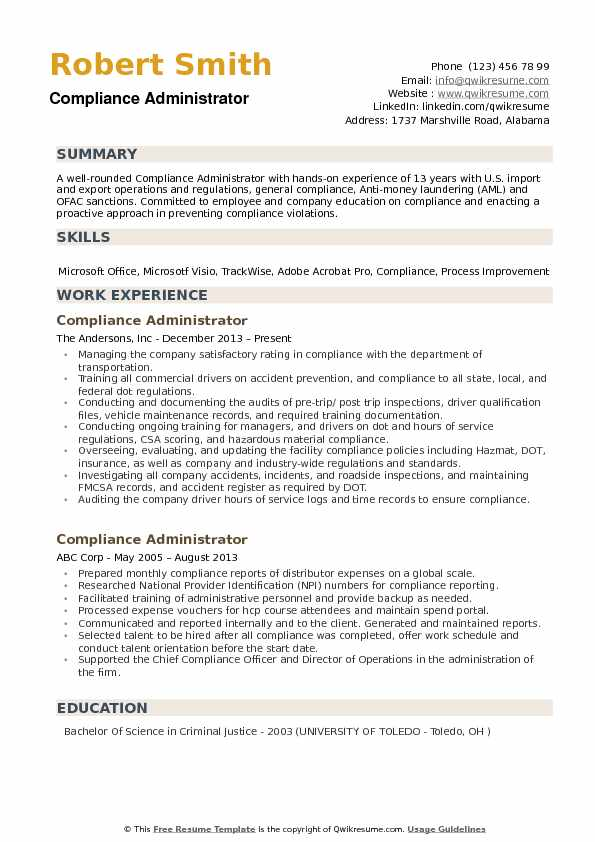 compliance administrator sample resume