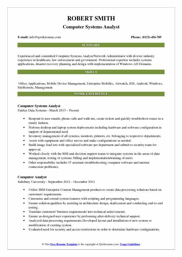 Computer Analyst Resume Samples QwikResume
