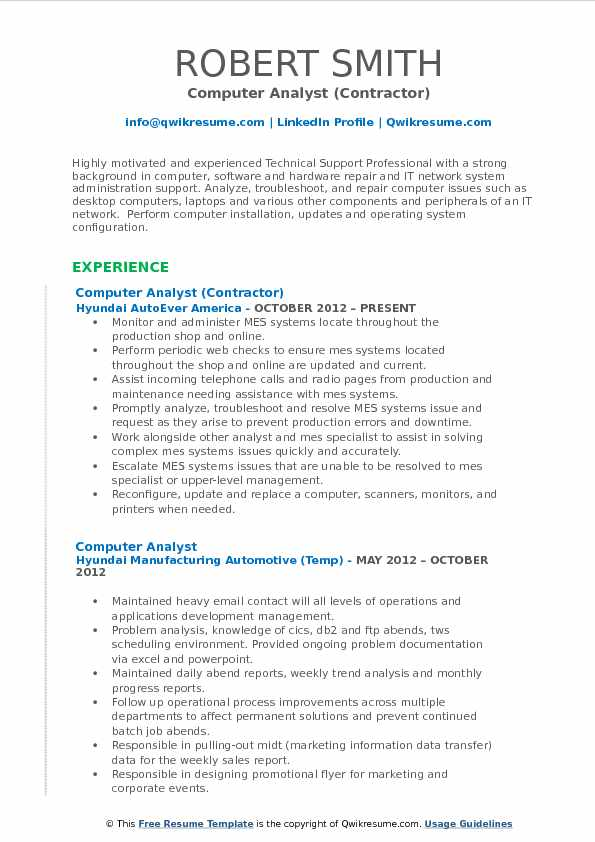 Computer Analyst Resume Samples QwikResume - laptop repair sample resume