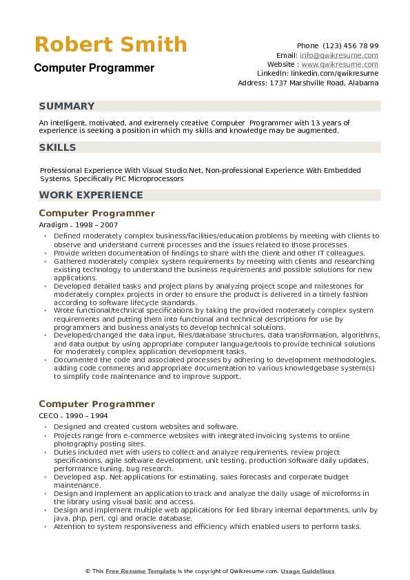Computer Programmer Resume Samples QwikResume