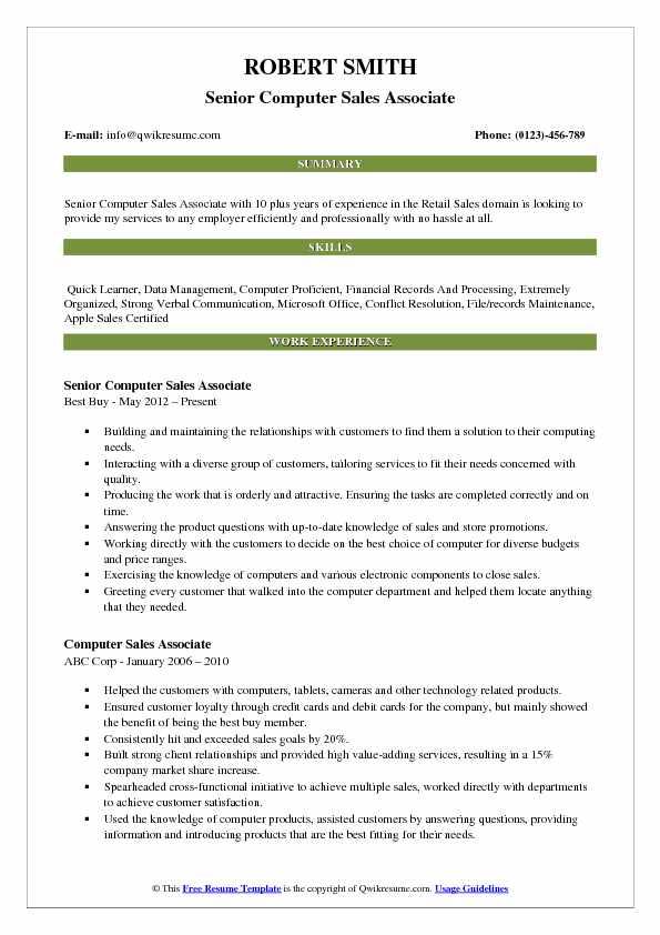 Computer Sales Associate Resume Samples QwikResume - retail store associate resume