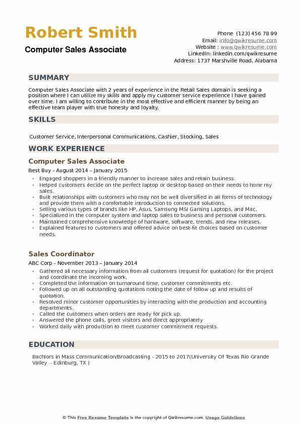 Computer Sales Associate Resume Samples QwikResume