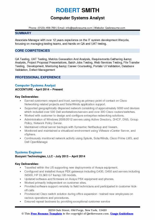 Computer Systems Analyst Resume Samples QwikResume