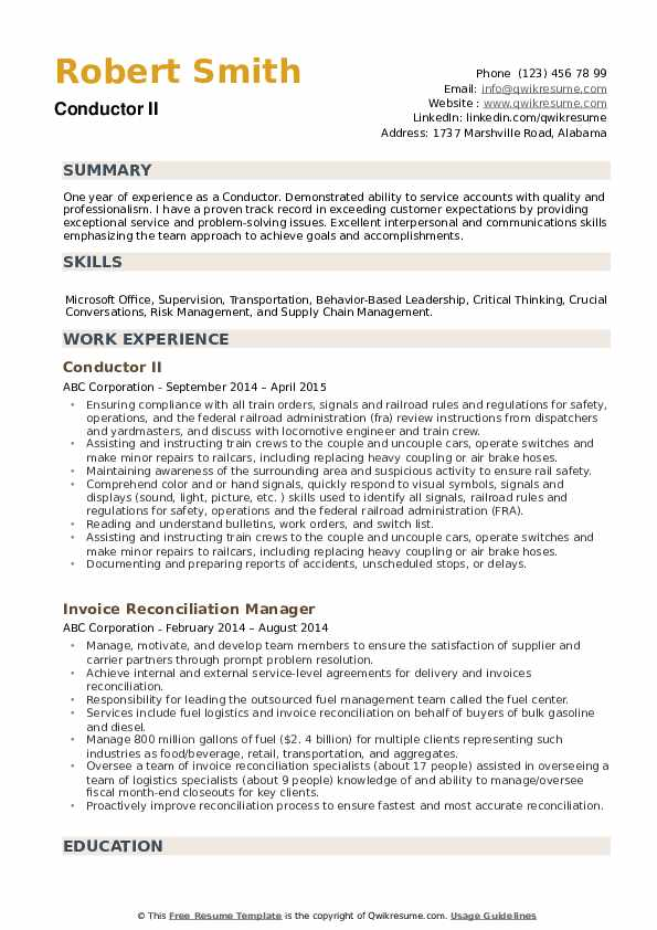 resume samples for train conductor