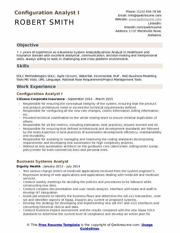 Configuration Analyst Resume Samples QwikResume