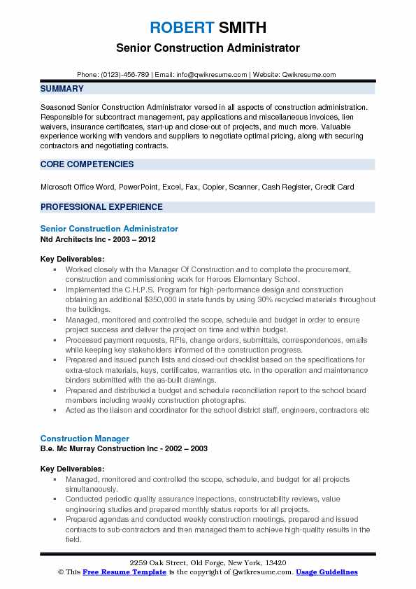 Construction Administrator Resume Samples QwikResume