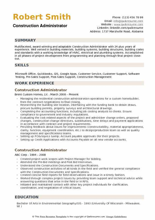 Construction Administrator Resume Samples QwikResume