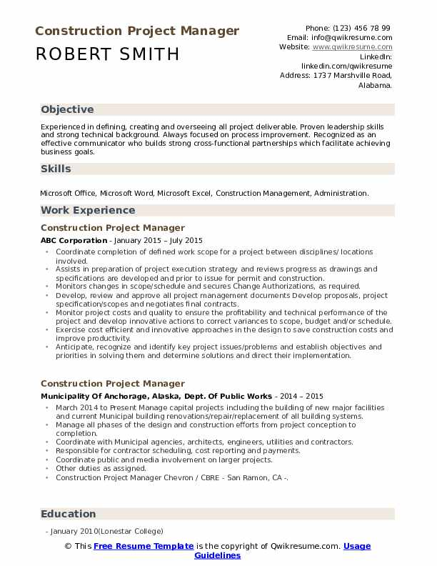 project manager roofing objective resume samples