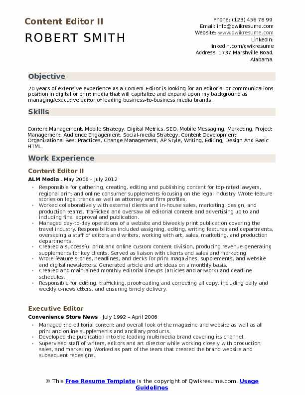 resume objectives examples for content editor