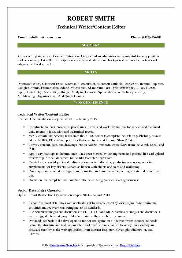 Content Editor Resume Samples QwikResume