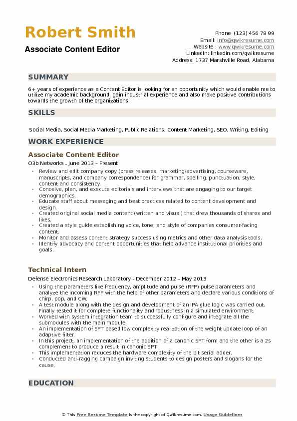 example of video editor resume