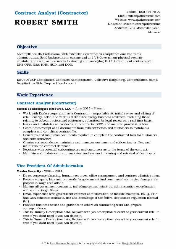 Contract Analyst Resume Samples QwikResume - contract analyst sample resume