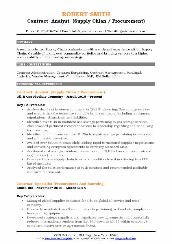 Contract Analyst Resume Samples QwikResume