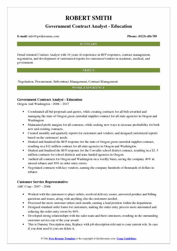 Contract Analyst Resume Samples QwikResume - government contracting officer sample resume