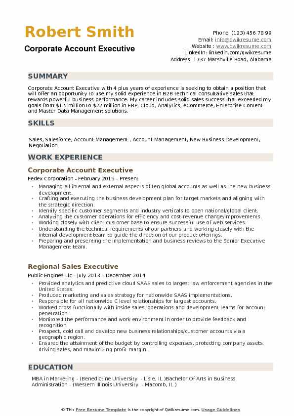 Corporate Account Executive Resume Samples QwikResume - corporate resume template