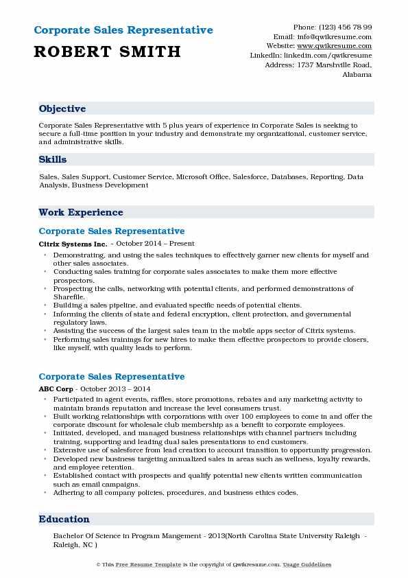 Corporate Sales Representative Resume Samples QwikResume - sales support resume