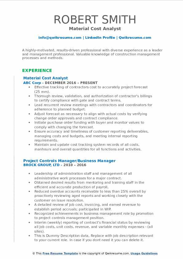 Cost Analyst Resume Samples QwikResume - Resume Business Manager