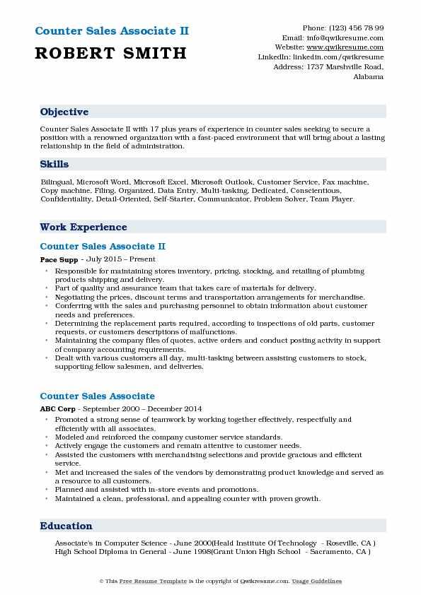 Counter Sales Associate Resume Samples QwikResume