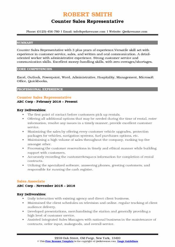 Counter Sales Representative Resume Samples QwikResume