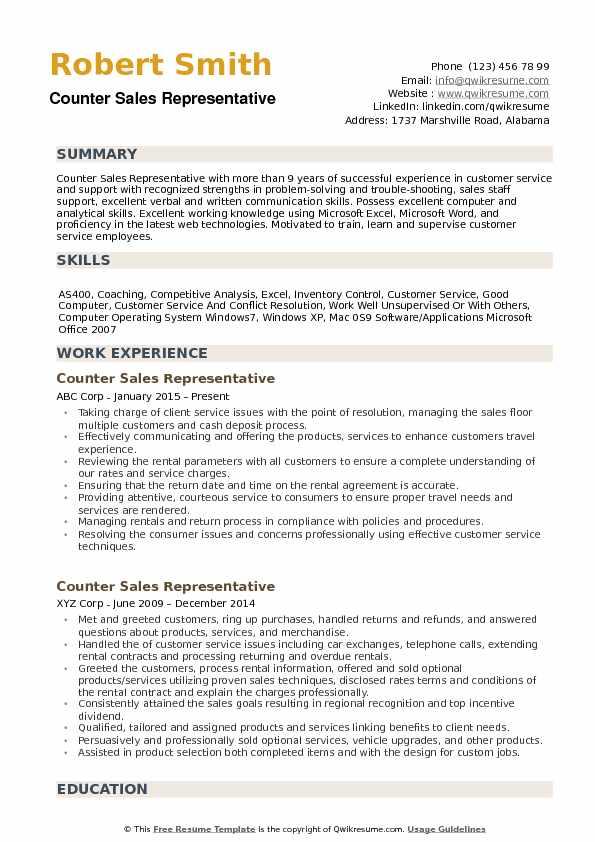 Counter Sales Representative Resume Samples QwikResume - Sales Representative Resume Templates