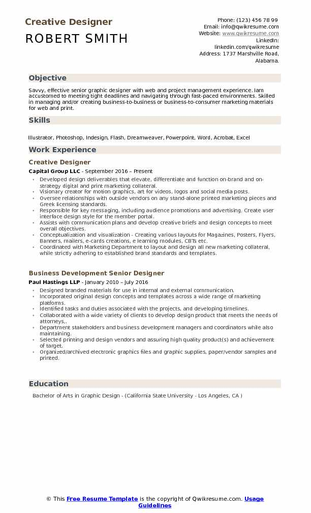 Designer Resume Samples, Examples and Tips