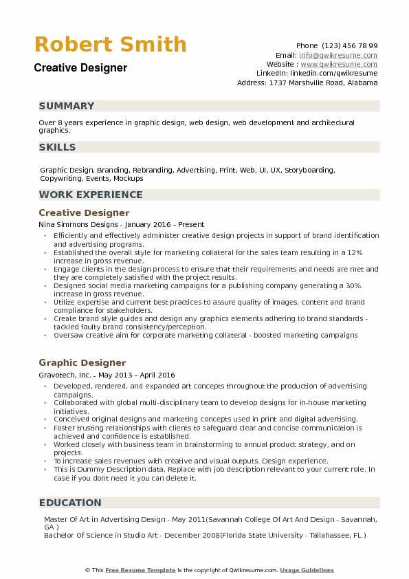 Creative Designer Resume Samples QwikResume - Web Design Resume Example