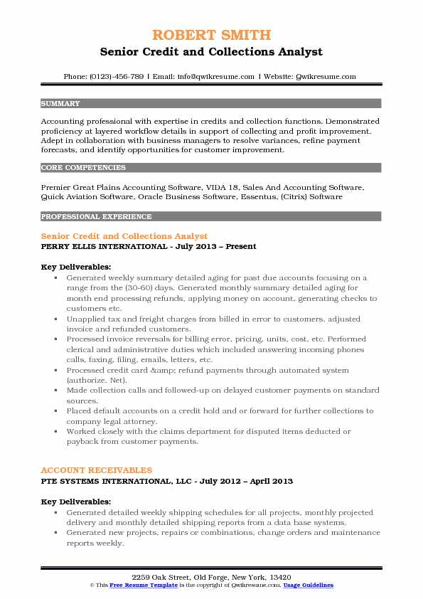 resume summary statement accounting