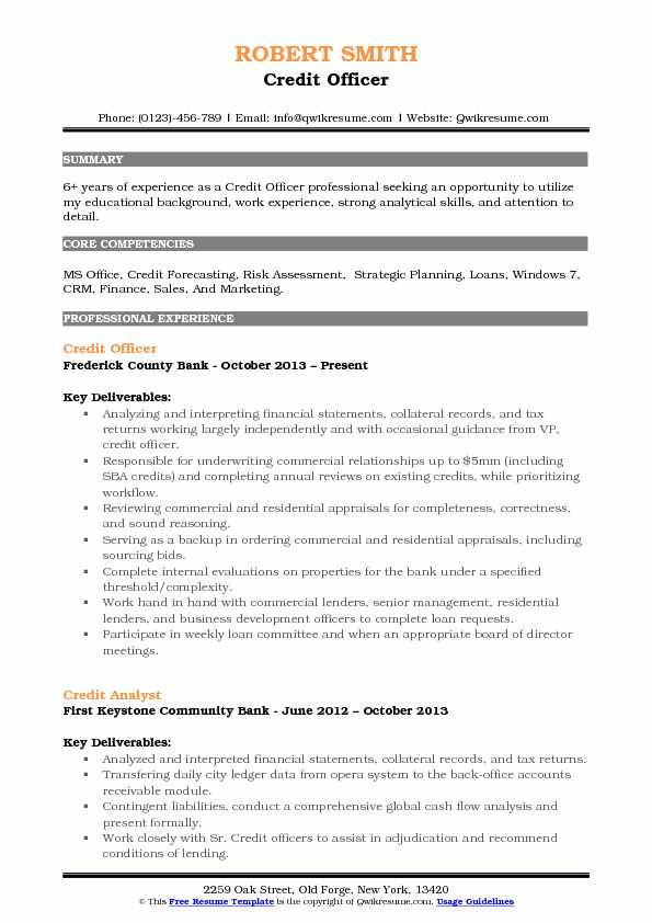 Credit Officer Resume Samples QwikResume