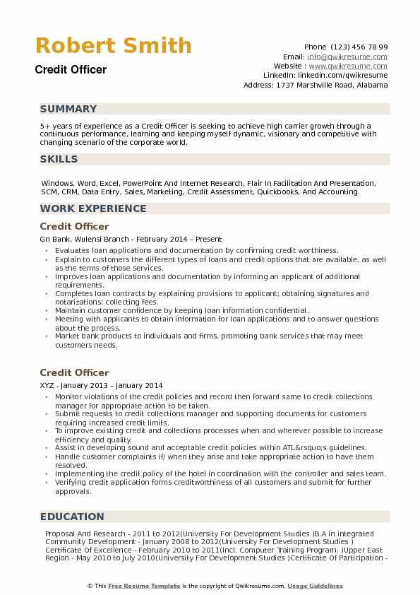 Credit Officer Resume Samples QwikResume