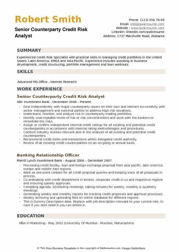 credit risk resume sample
