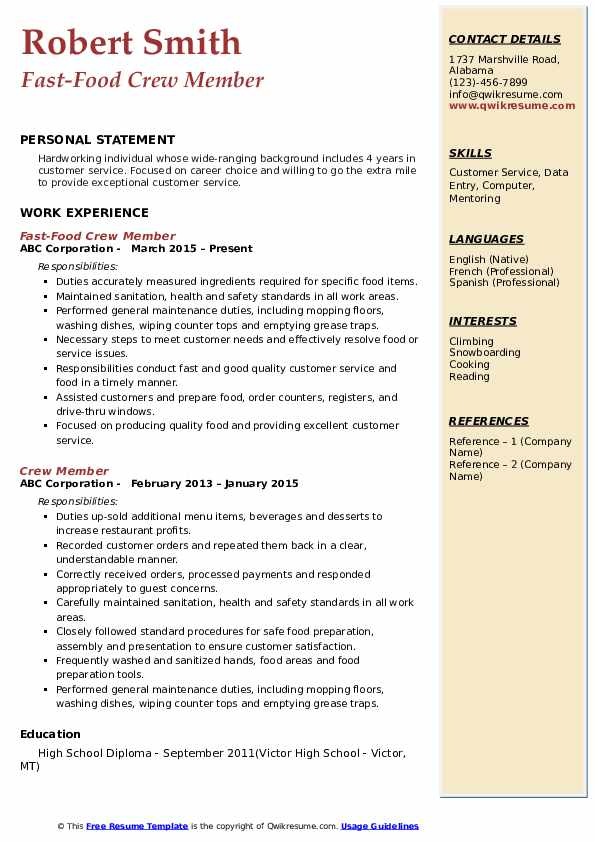 sample resume format for fast food crew