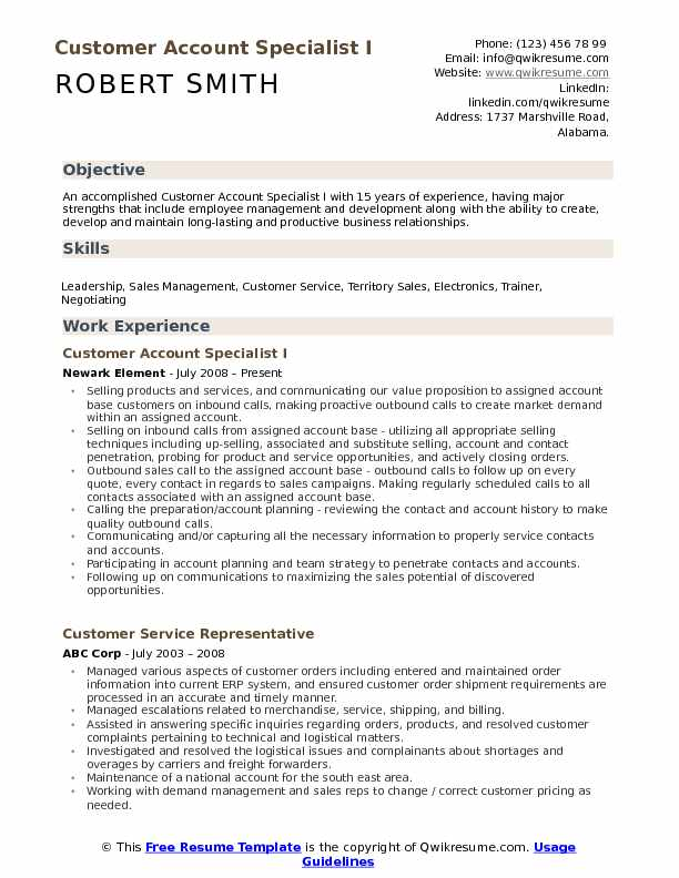 Customer Account Specialist Resume Samples QwikResume