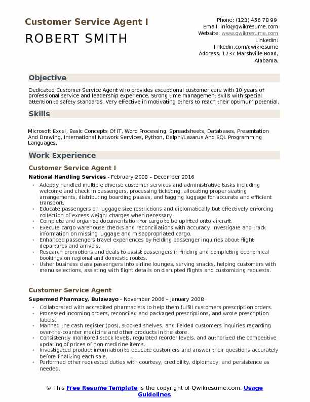 Customer Service Agent Resume Samples QwikResume