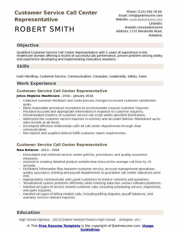 Customer Service Call Center Representative Resume Samples QwikResume - call center representative resume