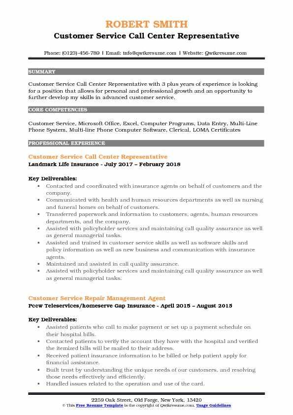 Customer Service Call Center Representative Resume Samples QwikResume