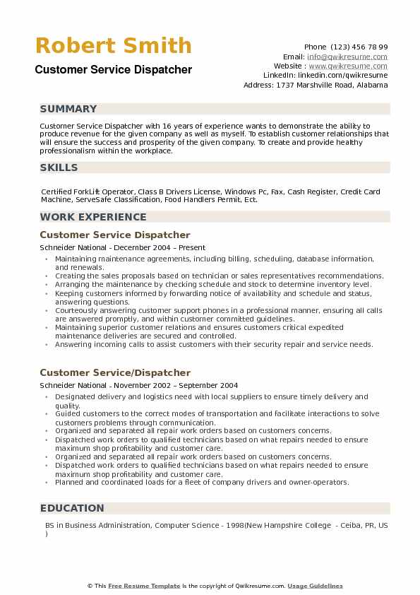 summary examples for resume customer service