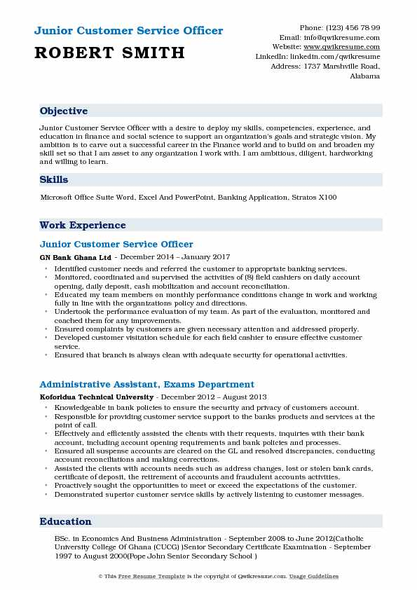 Customer Service Officer Resume Samples QwikResume