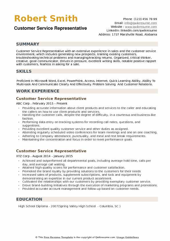 Customer Service Representative Resume Samples QwikResume