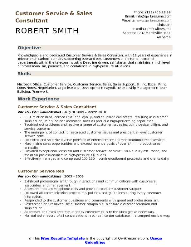 Telecom Sales Consultant Resume - Telecommunications Executive Resume