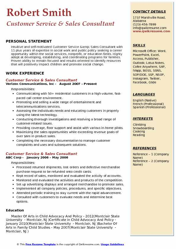 Customer Service Sales Consultant Resume Samples QwikResume