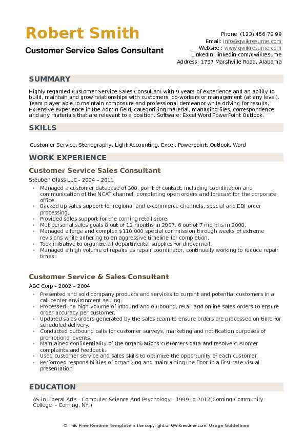 Customer Service Sales Consultant Resume Samples QwikResume - customer service sales resume