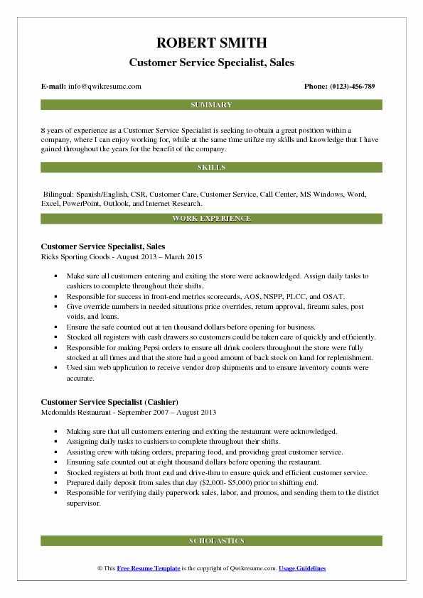 Customer Service Specialist Resume Samples QwikResume