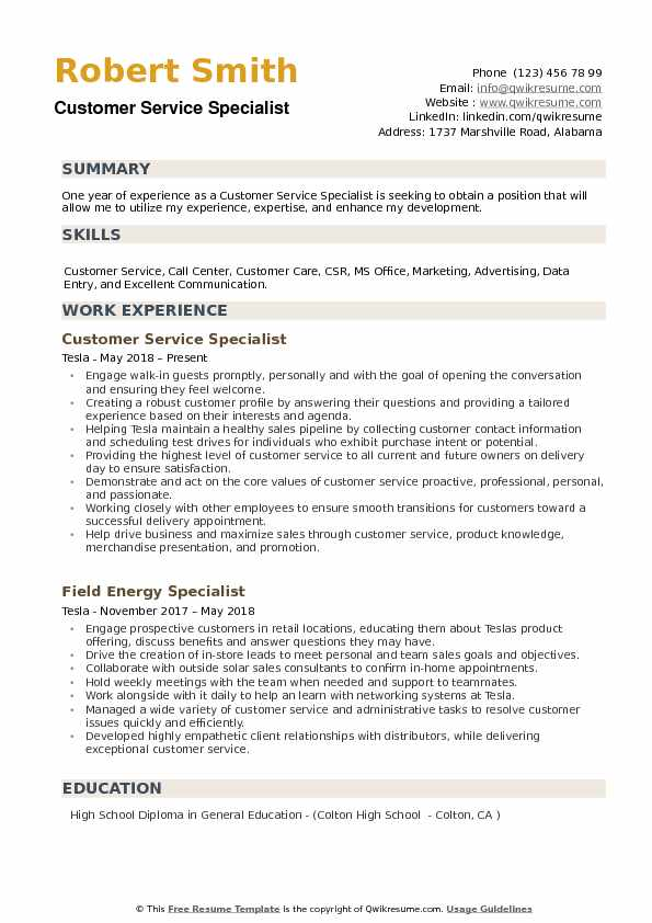 Customer Service Specialist Resume Samples QwikResume - customer service specialist resume